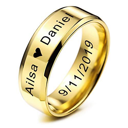 MeMeDIY FEDI Nuziali per Uomo per Fasce da Donna in Acciaio Inossidabile per Ragazze, con Regolatore della Dimensione Dell'anello - Incisione Iersonalizzata (Oro Colore, 8.0mm Larghezze, 25 Taglie)