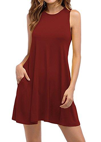 Vestidos de Mujer, Vestido de Camiseta, Manga Larga O-Cuello Vestido Casual Vestido Suave Vestido Suave y Estirado, Colores Lisos, Talla Grande, Dos Bolsillos Vino Rojo ES 38
