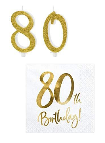 Feste Feiern Tischdeko Zahlenkerze 80. Geburtstag Kuchenkerze Servietten Brokat Gold Foliendruck 22 Teile Happy Birthday 80 Tortendeko