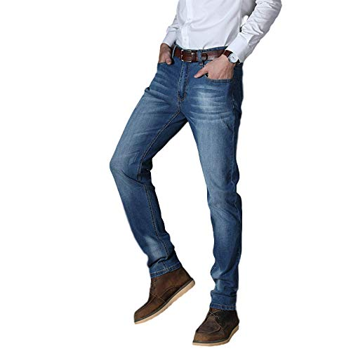 Generico Men's Jeans Spring and Autumn High Elastic Straight Leg Business Loose and Simple Washed High Waist Casual Pants 29