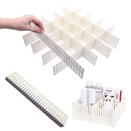 Divisores de cajones de Rejilla,12 Piezas Plástico Ajustables Separadores Cajones,DIY Contenedor Organizador para Calcetines Ropa Interior