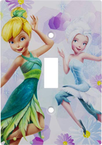 Disney Fairies Single Toggle Wallplate, Screws Included, One Gang, 40353, Multicolor