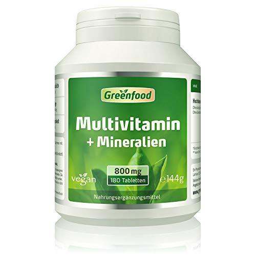 Greenfood Multivitamin + Mineralien, 800 mg, hochdosiert, 180 Tabletten – alle wichtigen Vitamine (Tagesbedarf), Mineralien und Spurenelemente. Mit hoher Bioverfügbarkeit.