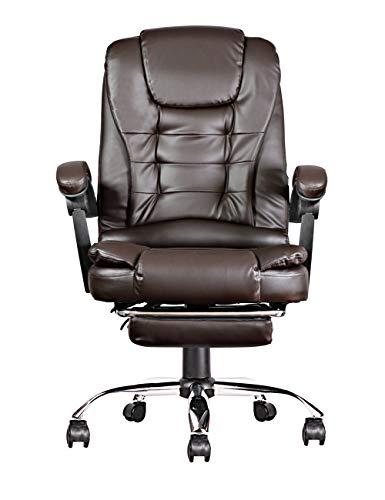 Silla de oficina de cuero sintético con reposapiés, silla ejecutiva ergonómica ajustable, silla de escritorio, silla de ordenador, silla giratoria (marrón)