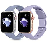 2 Pack Sport Silicone Bands Compatible with Apple Watch Bands 38mm 40mm 42mm 44mm Women Men, Soft Silicone Replacement Strap Band Compatible for iwatch Series 6 SE 5 4 3 2 1(38MM/40MM,Gray1+Lavender)