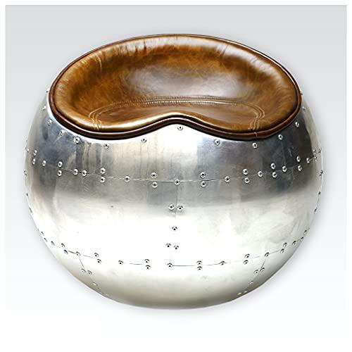 Aircraft - Sgabello in pelle, stile vintage, colore: Marrone