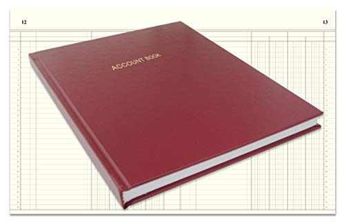 """BookFactory Account Book/Ledger Book/Accounting Ledger/Account Notebook (4 Column Columnar Book Format) - 96 Pages, 8"""" x 10"""", Burgundy Cover, Smyth Sewn Hardbound (ACT-096-S4CM-A-LMT16)"""