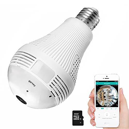 Light Bulb Camera, Include 16G SD Card HD 1080p-Wifi 360° 2.4Ghz Wireless Security IP Panoramic Dome Camera, with Night Vision, Alarm, Suitable for Baby, Office, Pet Monitor