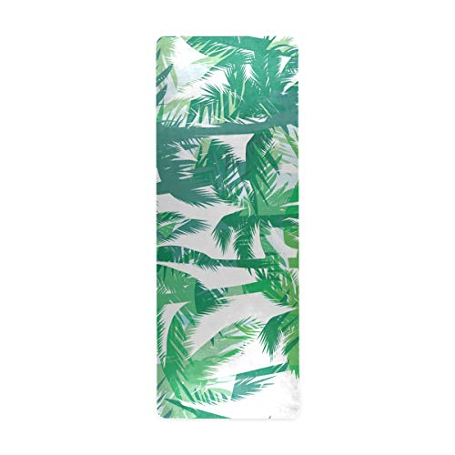 ZOEO Tropical Palm Tree Summer Yoga Mat Non Slip Thick Kids Eco Friendly Rubber Workout Foldable Yoga Mat Women Exercise