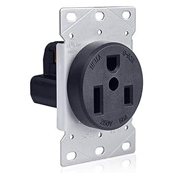 BESTTEN 50 Amp Flush Mounted Receptacle Outlet Straight Blade CommercialGrade NEMA 6-50R,2 Pole 3 Wire 250V Grounded UL Listed Black