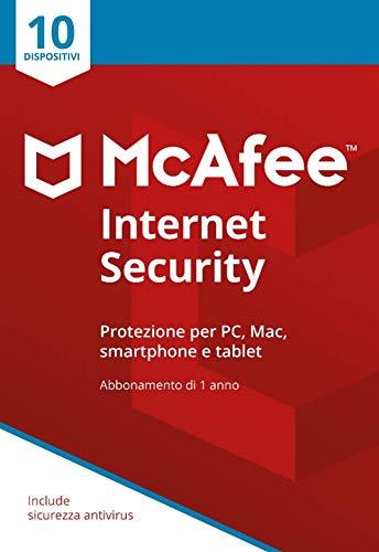 McAfee Internet Security 10 Dispositivi | Abbonamento di 1 anno | PC Mac Smartphone Tablet | Codice di attivazione via posta