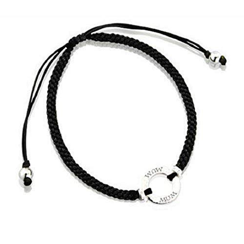 Lovethelinks Sterling Silver Friendship Bracelet with 'Mum' and Silk Adjustable Strap - Black