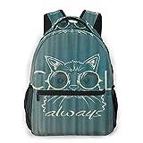 COVASA Mochila escolar informal Mochila de viaje,Unny Muzzle Cat con gafas de sol en primer plano con un ,mochila grande y liviana para estudiantes,niños y adultos,para computadora portátil de 15.6 '