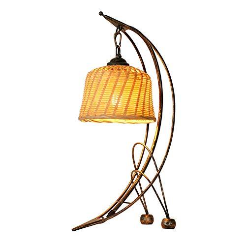 Bureaulamp Retro Rural Hand bamboe gevlochten lampenkap antiek smeedijzer Moon tafellamp E27 met schakelaar voor kantoor slaapkamer leeslamp