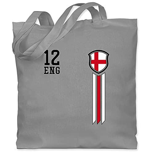 Shirtracer Fussball EM 2021 Fanartikel - 12. Mann England Fanshirt - Unisize - Hellgrau - jutebeutel em 12 - WM101 - Stoffbeutel aus Baumwolle Jutebeutel lange Henkel