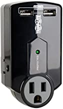 Tripp Lite 3 Outlet Portable Surge Protector Power Strip, Direct Plug In, 2 USB, & $5,000 INSURANCE (SK120USB)