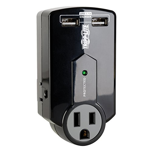 Tripp Lite 3 Outlet Portable Surge Protector Power Strip, Direct Plug In, 2 USB, & $5,000 INSURANCE...