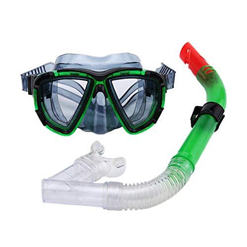 QWERT 2 Piezas Profesional Gafas de Bucear Easybreath Set de Buceo Gafas de Natación Adultos Tubo Respirador Máscara de Buceo Máscara Snorkel Anti-Niebla Anti-Fugas,Verde