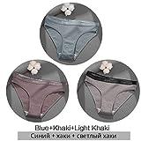 Xiaobing 3 Piezas/Juego de Ropa Interior de Mujer, Ropa Interior de algodón Puro, Ropa Interior Sexy de Color sólido -A68-L-C938