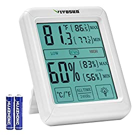 VIVOSUN Digital Indoor Thermometer and Hygrometer with Humidity Guage, Accurate Temperature Humidity Monitor Meter with Touch LCD Backlight for Home, Office, Greenhouse, Indoor Garden, Battery Include 4 TEMPERATURE HUMIDITY INDICATOR: Combined with thermometer and hygrometer function, you can be always aware to current temp and and humidity condition PRECISE DATA: A sensitive censor in the device records the temp and humidity, controlling the temp exactness within ±1℃/±1.2ºF and humidity accuracy within ±5% RH; With LED light, you can view the data at night CONVENIENT DESIGN: VIVOSUN Indoor Hygrometer Thermometer features a desktop stand to put it in any horizontal position;It also can be attached to a fridge due to 2 powerful magnet or you can hang it anywhere because there's a hanging hole on the back