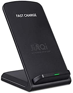 Wireless Charging Stand, Jiaqi 2-Coil Qi Certified 10W Fast Wireless Charging Stand Compatible with iPhone X/iPhone 8/8 Plus, Samsung Galaxy Note 9/S9/S9+/Note8/S8 and All QI-Enabled Device (Black)