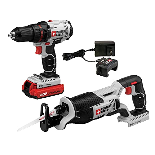 PORTER-CABLE 20V MAX Cordless Drill Combo Kit with Reciprocating Saw, 2-Tool (PCCK603L2)