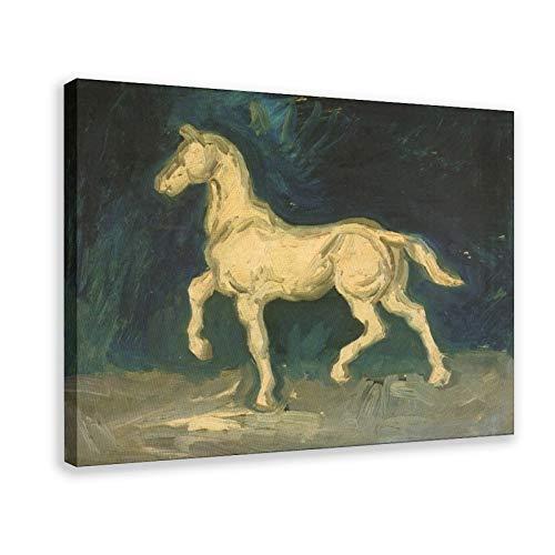 Pintura al óleo Vincent Van Gogh Estatuilla de yeso de un caballo Póster de lona para decoración de la pared de 50 x 75 cm. Marco: