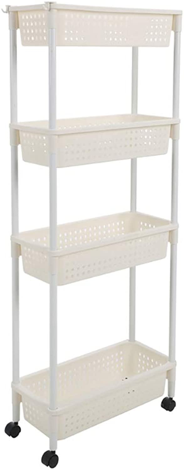 3 4 Tier Slim Slide Out Removable Storage Tower Kitchen Bedroom Storage Rack Bathroom Shelf with Wheels White (Size   45.7  20.7  117.2CM)