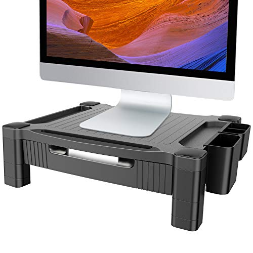 Adjustable Monitor Stand Riser with Pull Out Drawer for Computer, iMac, PC, Printer, Laptop with Pencil Holder,Tablet & Phone Holder, Cable Management Slot by HUANUO