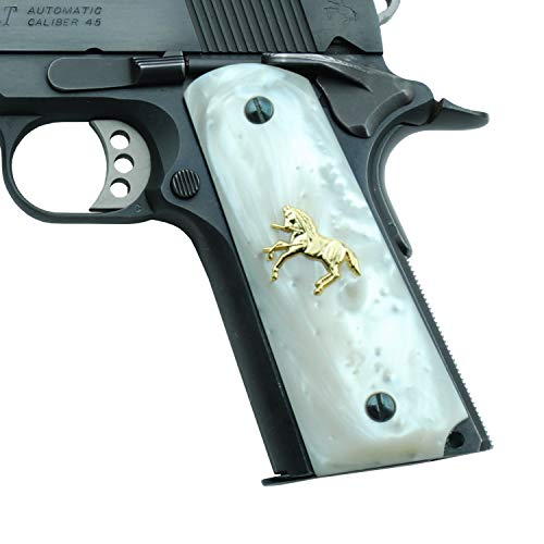 Altamont 1911 Grips - White Pearl - Full Size 1911 Grips w. Ambi Safety fits Most Commander, Standard & Government 1911 Models - Made in USA - White with Gold Colt