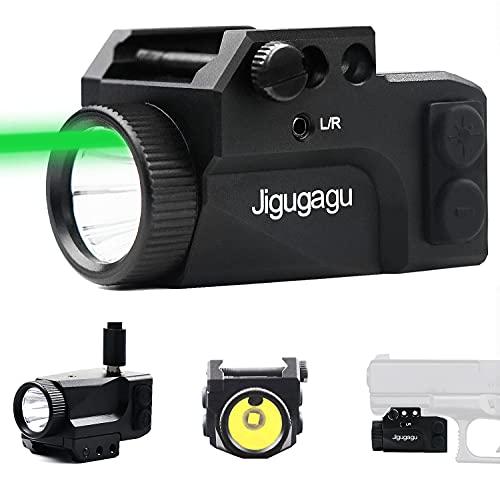 JIGUGAGU 650 Lumens Shockproof Laser Light Combo, Tactical Flashlight Green Laser for Pistol, USB Rechargeable Pistol Laser, Compact Rail Mount Tactical Flashlight Laser Sights for Pistol