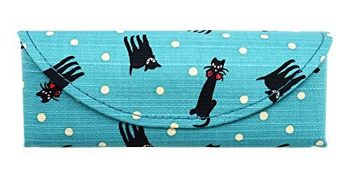 夢二スリムメガネケース めがねケース 眼鏡ケース 竹久夢二 ネコ スリム コンパクト 軽量 いちご 椿 和風 日本製 お洒落 おしゃれ かわいい 可愛い プレゼント ギフト メガネケース レディース 黒猫