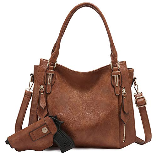 Realer Concealed Carry Purses and Handbags for Women Hobo Bags Large Crossbody Shoulder Bag Vegan Faux Leather, with Holster(Brown)
