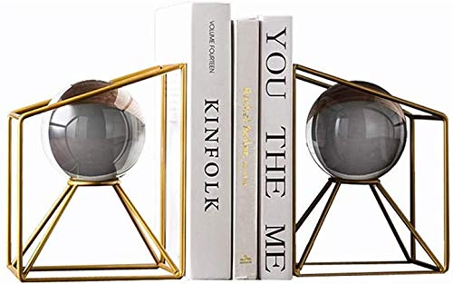 JDTBYMXX Decorative Bookends, Book Ends Simple Crystal Metal Desktop Decorative Bookends