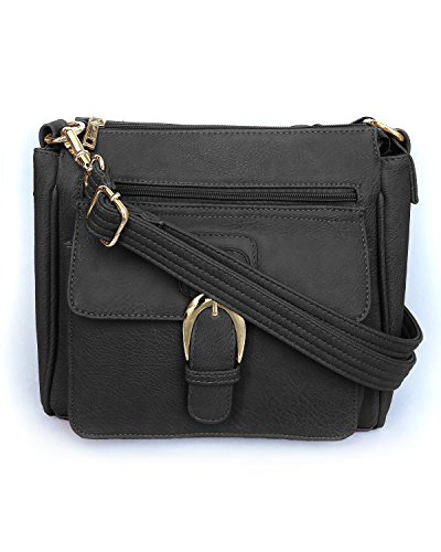 Roma Leathers Concealed Carry Cross Body Handbag - Premium Black Vegan Leather - Adjustable, Detachable, and Wire Reinforced Shoulder Strap - Front...