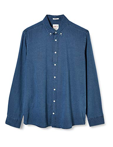 Photo of HKT by Hackett Men's Hkt Indigo Texture Formal Shirt, Blue (000denim 000), 39 (Size: Medium)