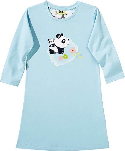 Erwin Müller Kinder-Nachthemd, Nachtkleid, Pyjama, Panda-Motiv, Single-Jersey eisblau Größe 134/140 - anschmiegsame, weiche Qualität, mit Rundhalsausschnitt und großem Druckmotiv