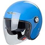 Motorradhelm Jet Helmet City Retrò ECE 22-05 Doppel Visier Scooter Blau M