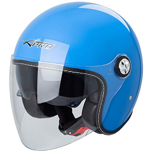Motorradhelm Jet Helmet City Retrò ECE 22-05 Doppel Visier Scooter Blau XS