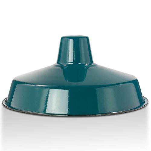 Industrie Lampenschirm Emaille Petrol Blau (2. Wahl), Fabriklampe Ø36 cm (Nur Lampenschirm)