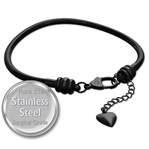 Charm Armband für Frauen, Schwarz Edelstahl Schlange Kette, passt Pandora Charms, Karabinerverschluss, schwarz, 18 cm (7 inch)