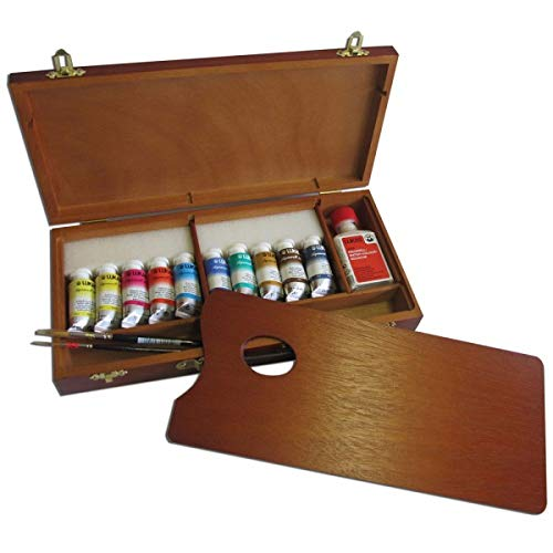 Lukas Aquarell 1862 Artist Watercolor 150th Anniversary Wooden Box Set - Professional Quality Kit of Brilliant Colors in a Travel Friendly, Carry Case with Color Mixing Palette - 70 Half Pans