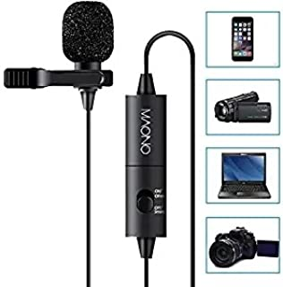 MAONO Lavalier Microphone, Hands Free Clip-on Lapel Mic with Omnidirectional Condenser for Camera,DSLR,iPhone,Android,Samsung,Sony,PC,Laptop (236in/20ft)