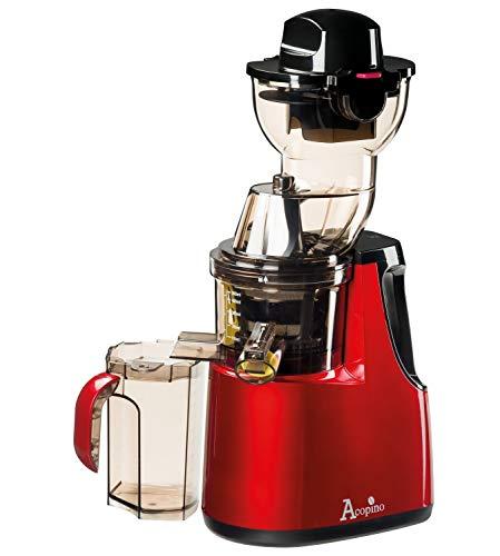 Acopino Delicato Slow Juicer Kaltpress-Entsafter mit Press-Schnecken-Technik für ganze Früchte, rot