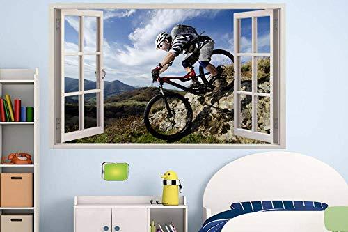 Wall Stickers 3D Mountain Bike Biker Jump ON Rocks Wall Sticker Room Decoration Decal Mural - 50×70CM