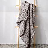 Chunky Knit Blanket - Super Soft Grobstrick Überwurf Decke für Bett, Sofa, Sessel - Schöne Heimdekoration Strickdecke, Weiches Chenille Garn, Babydecke, Tagesdecke, Decke (Hellbraun,80x100cm)