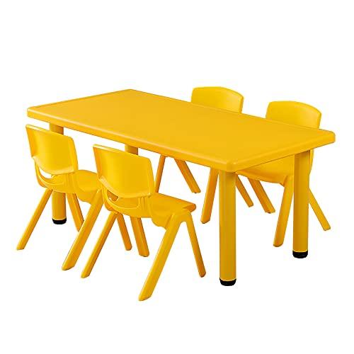 Juego de mesa y silla para niños, mesa y silla de estudio simple para niños en el jardín de infantes, escritorio antideslizante con 4 sillas para que los niños lean, coman y jueguen, carga establ