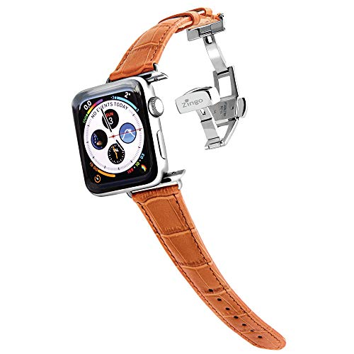 Zingo Brown Leather 42mm/ 44mm Strap Compatiable with Apple Watch Series 1/2/3/4/5/6 42mm 44mm
