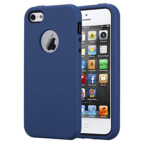 Cadorabo Funda para Apple iPhone 5 / iPhone 5S / iPhone SE en Azul Oscuro - Hybrid Cubierta con Interior Silicona TPU e Bipartito Exterior Plástico - Case Cover Carcasa Protectora Ligera