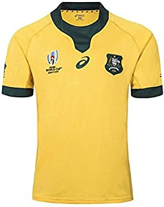 Rugby Jersey 2019 Japan World Cup Australia Wallabies Men's Shirts Athletes Clothing Professional Technology Short-Sleeved (Color : Yellow, Size : XXX-Large) by LUHUANONG